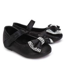 Kittens Party Belly Shoes Studded Bow Applique - Black