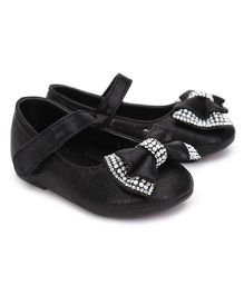 Kittens Belly Shoes Studded Bow Applique - Black