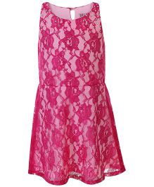 Angelito Sleeveless Floral Net Design Frock - Pink