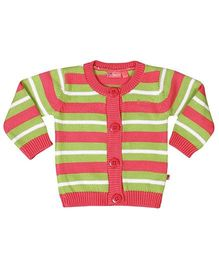 Buzzy Full Sleeves Cardigan Stripe Print - Multi Color