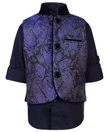Little Bull Full Sleeves Shirt And Brocade Waistcoat Set - Blue And Black