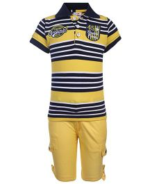 Formula 1 Half Sleeves T-Shirt And Shorts Stripe Pattern - Yellow
