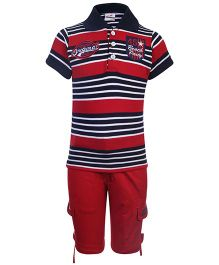 Formula 1 Half Sleeves T-Shirt And Shorts Stripe Pattern - Red
