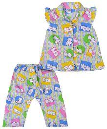 Babyhug Cap Sleeves Night Suit Teddy Bear Print - Blue