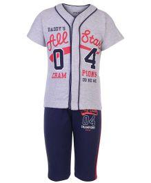 Doreme T-Shirt And Shorts Set Champion Print - Grey And Navy