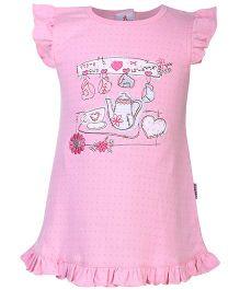 Child World Flutter Sleeves Frock Tea Set Embroidery - Pink