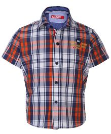 Gini & Jony Half Sleeves Shirt Check Pattern - White And Navy Blue