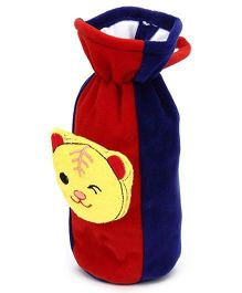 Babyhug Plush Bottle Cover Bear Face Motif Large - Red And Blue