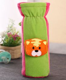 Babyhug Plush Bottle Cover Tiger Face Large - Green And Pink