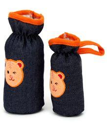 Babyhug Bottle Cover Denim Bear Face Motif Set of 2 - Assorted Colours