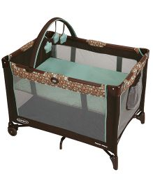 Graco Pack 'n Play On The Go Playard Little Hoot Bassinet - Green And Brown
