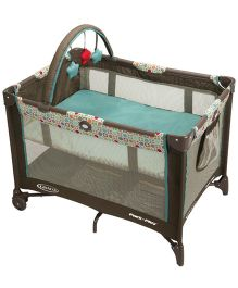 Graco Pack 'n Play On The Go Playard Twister Bassinet - Green And Brown