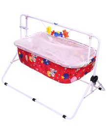 New Natraj Comfy Cradle With Mosquito Net Bear Print 030 - Red