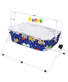 New Natraj Comfy Cradle With Mosquito Net Bear Print 030 - Royal Blue