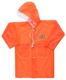 Babyhug Full Sleeves Galaxy Fluorescent Raincoat With Bag - Orange