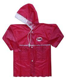 Babyhug Full Sleeves Crystal Raincoat - Red