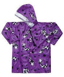 Babyhug Raincoat Cow Print - Purple