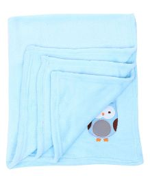 Honey Bunny Coral Baby Blanket Owl Embroidery - Sky Blue