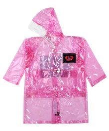 Babyhug Full Sleeves Clear Raincoat Butterflies Patch - Pink