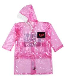 Babyhug Full Sleeves Clear Raincoat Butterflies Patch - Pink