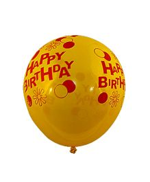 Partymanao Happy Birthday Print Balloon Pack Of 100 - Multicolor