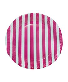 Partymanao Striped Party Paper Plates Pack Of 10 - Pink