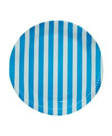 Partymanao Striped Party Paper Plates Pack Of 10 - Blue