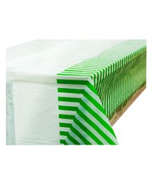 Partymanao Party Striped Plastic Tablecover - Green