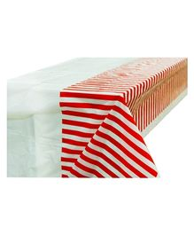 Partymanao Party Striped Plastic Tablecover - Red