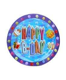 Smartcraft Paper Plate Happy Birthday Design Blue - Pack Of 10