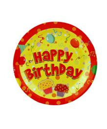 Partymanao Paper Plate Happy Birthday Design Yellow And Red - Pack Of 10