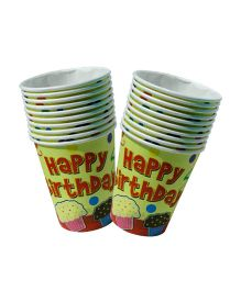 Partymanao Paper Cup Happy Birthday Design Red 10 Cups - 250 ml each