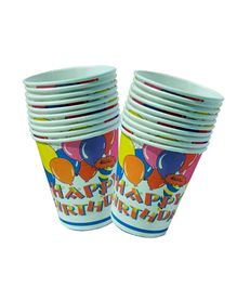 Partymanao Paper Cup Happy Birthday Design 10 Cups - 250 ml each