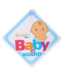 Firstcry Baby On Board Sign With Suction Cup - Blue