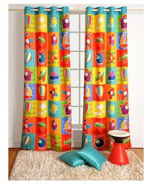 Swayam Digitally Printed Kids Window Curtain With Eyelets - Aeroplanes