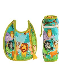 Swayam Digitally Printed Bib And Bottle Cover Set - Multicolour