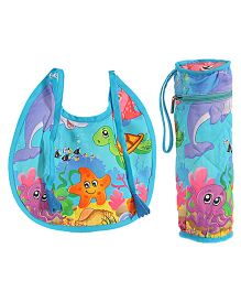 Swayam Digitally Printed Bib And Bottle Cover Set - Blue
