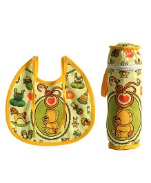 Swayam Digitally Printed Bib And Bottle Cover Set - Light Green