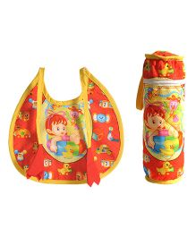 Swayam Digitally Printed Bib And Bottle Cover Set - Red