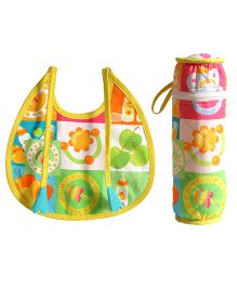 Swayam Digitally Printed Bib And Bottle Cover Set - Multi