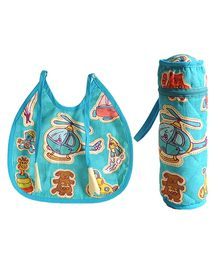 Swayam Digitally Printed Bib And Bottle Cover Set Helicopter - Multicolour