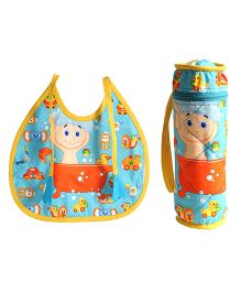 Swayam Digitally Printed Bib And Bottle Cover Set Printed - Multicolour