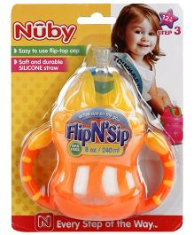 Nuby Flip N Sip Cup Orange - 240 ml