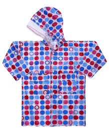 Babyhug Raincoat Big Polka Dots - Blue And Red