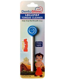 Dentoshine Chhota Bheem Lollipop Tongue Cleaner - Blue And White