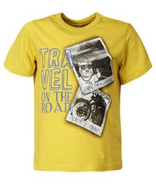 United Colors of Benetton T-Shirt Travel Print - Yellow