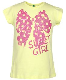 United Colors of Benetton Short Sleeves Top Bow Print - Lemon Yellow
