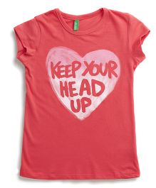 United Colors of Benetton Short Sleeves Top Caption Print - Pink