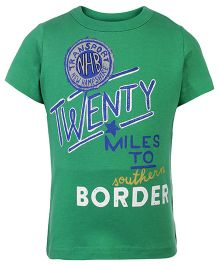 United Colors of Benetton Half Sleeves T-Shirt Border Print - Green