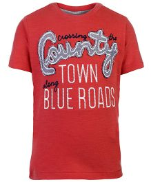 United Colors of Benetton Half Sleeves T-Shirt County Patch - Red